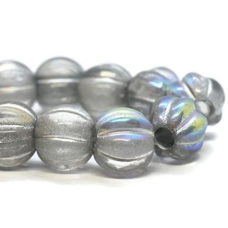 20 Beads Czech Glass LARGE HOLE Melon Beads 8mm Black with a Brown Wash